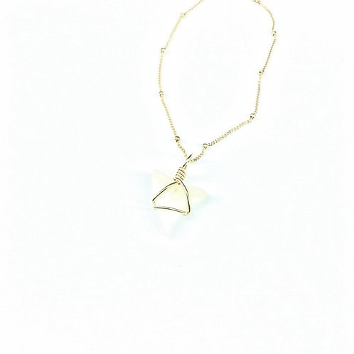 White Charm w/ 14kt beaded chain (403)