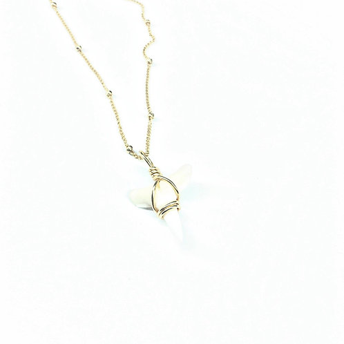 White Charm w/ 14kt beaded chain (404)