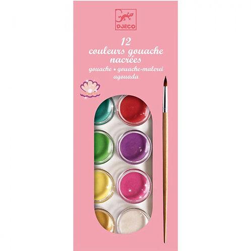 Djeco - Gouaches Pastel-Perlado: 12 Colores