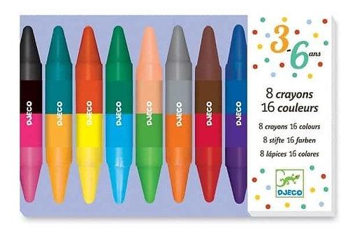 Djeco - Crayones Doble Cara: 8 unid.