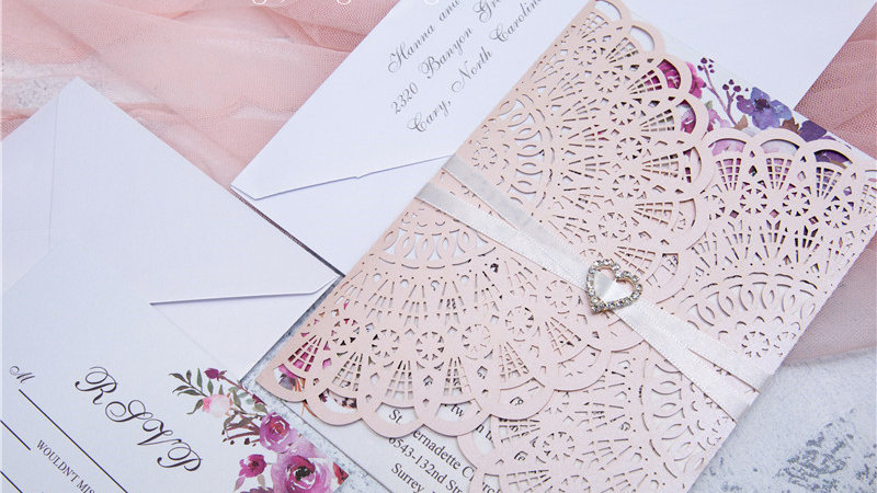 Pretty in Pink Floral Lace Invitations (50 Count)