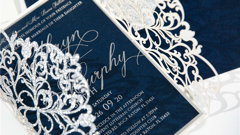 Glittered Lace Invitations (50 Count)