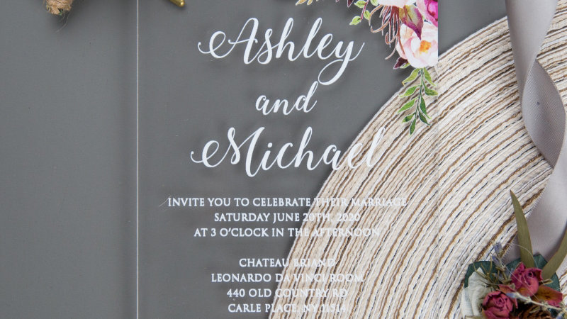 Acrylic Wedding Invitation with UV Print (50 Count)