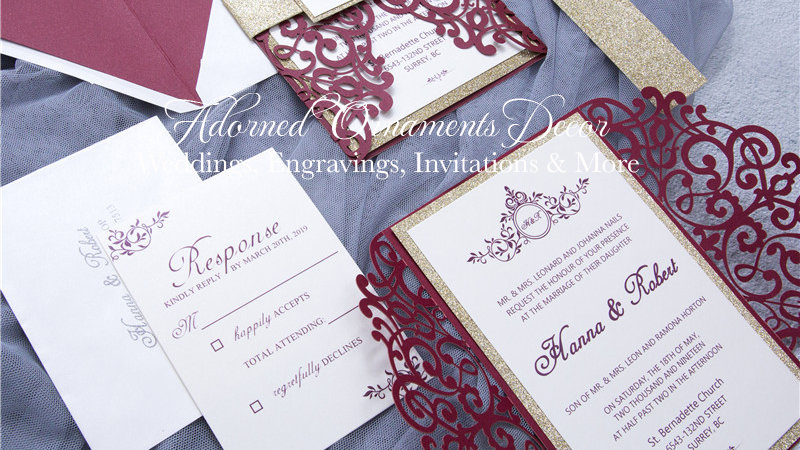 Burgundy Vineyard Lace Invitations (50 Count)