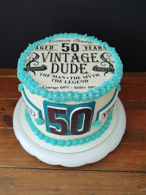 """8"""" Round Buttercream with Fondant Accents, 10-12 servings"""