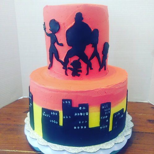 "10"" & 6"" stacked Round Buttercream with Fondant Accents, 28-32 Servings"