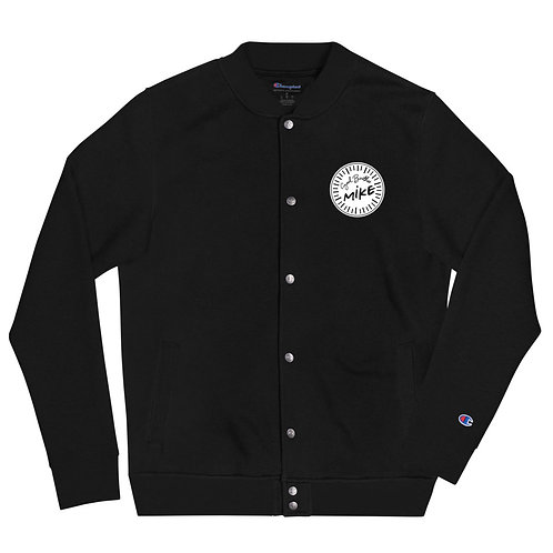 Soul Brother Mike (#008) - Black Embroidered Champion Bomber Jacket