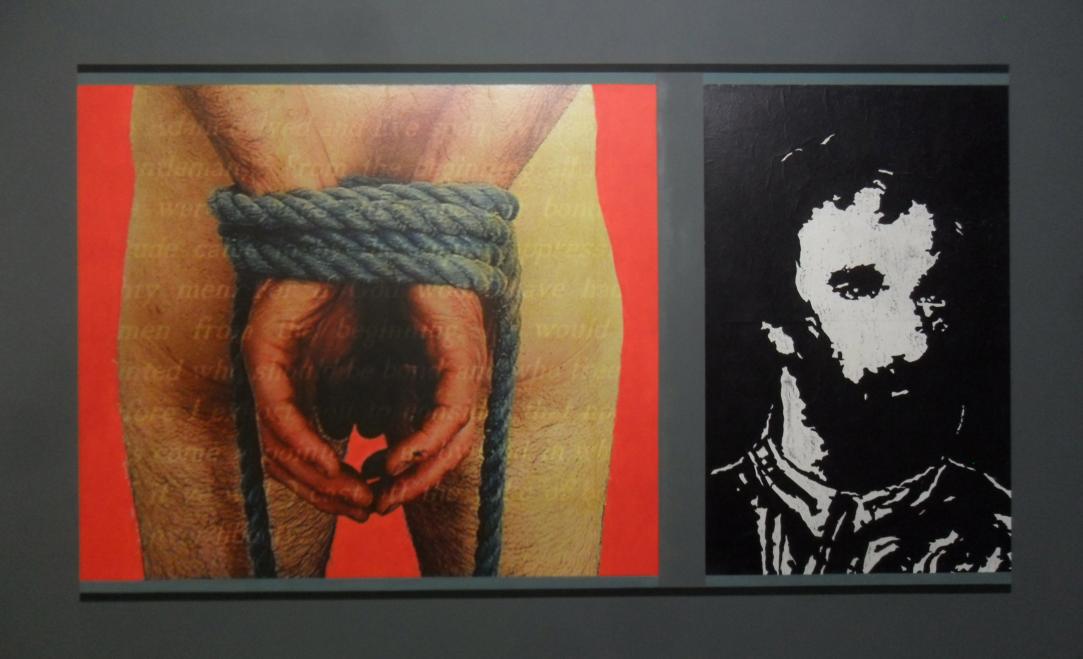 watt tyler and me, photo-print, woodcut  and acrylic paint on canvas, 240cm x 170cm, 2014