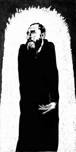 John - woodcut, 90cm x 180cm, 2021