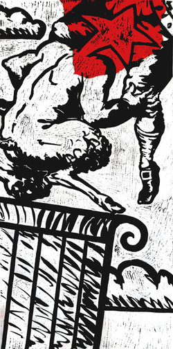 Fawn, woodcut print, 62cm x 122cm, 2014.