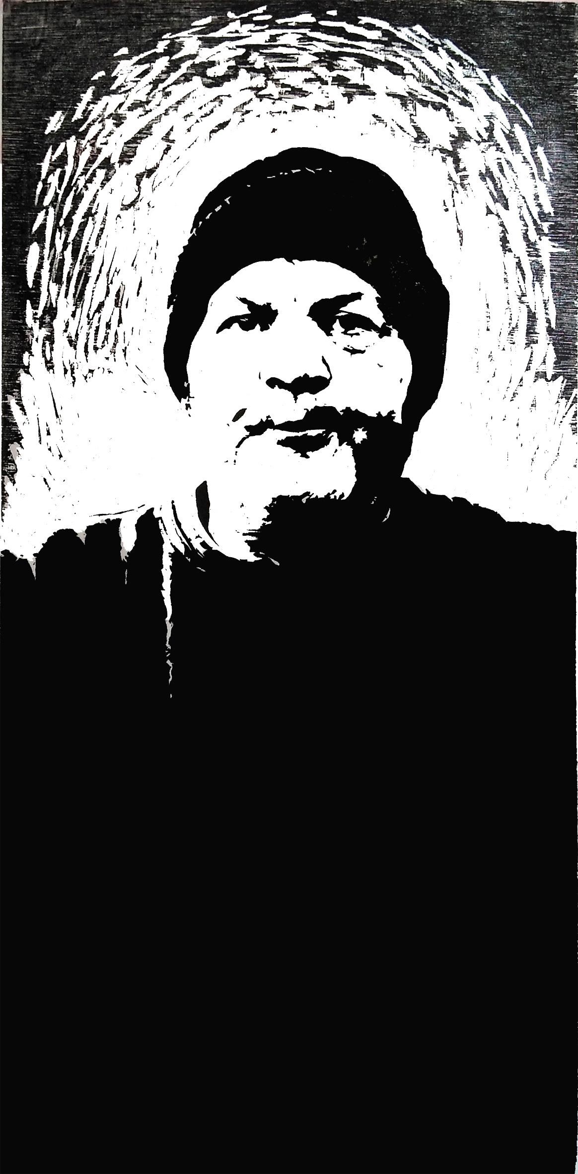 David f, woodcut, 60cm x 120cm, 2020