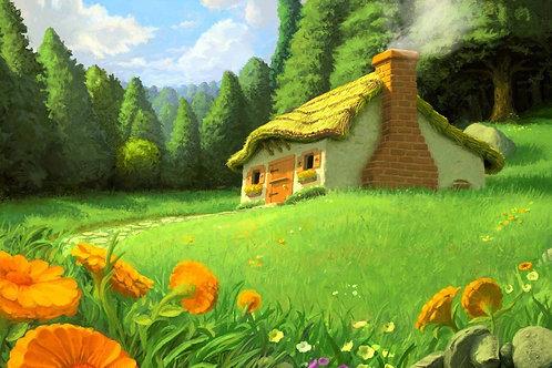 Tecido sublimado casinha no campo