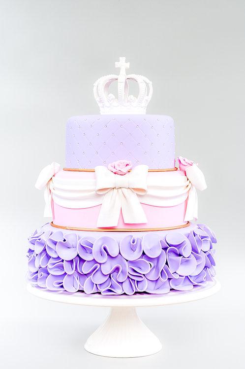 Bolo Lilás e rosa princesas