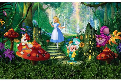 Tecido sublimado Alice na floresta