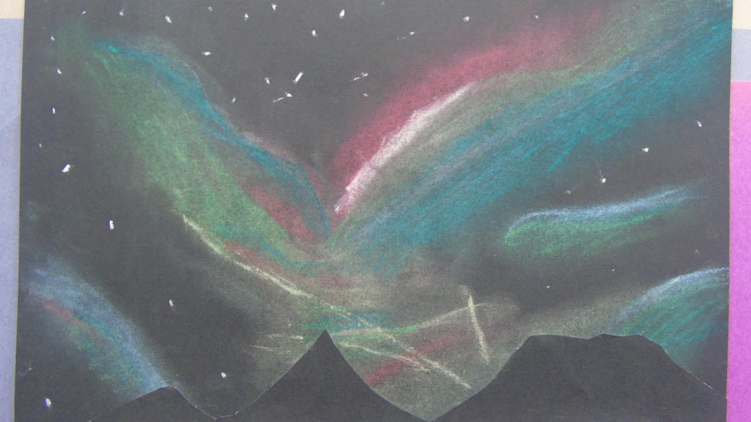 Oil pastel Aurora Skyline