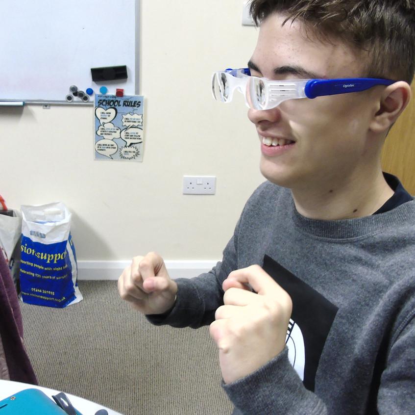 Vision impaired glasses