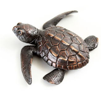 Bronze turtle sculpture by Geckoman, John Noble-Milner, wildlife sculptor and artist