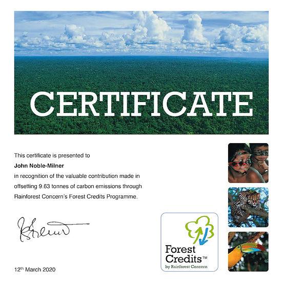 Geckoman, John Noble-Milner, wildlife sculptor Rainforest Concern Forest Credit certificate for carbon offsetting