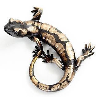 Bronze salamander sculpture by Geckoman, John Noble-Milner, wildlife sculptor and artist