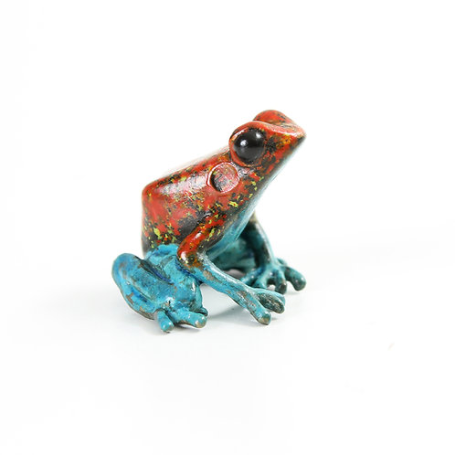 poison dart frog in bronze - small - red & blue