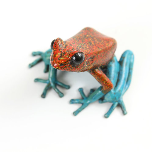 poison dart frog in bronze - large - red and blue