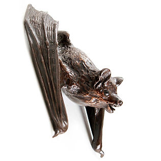 Bronze pipistrelle bat sculpture by Geckoman, John Noble-Milner, wildlife sculptor and artist