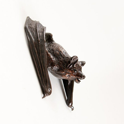 pipistrelle bat with wings starting to unfold - bronze