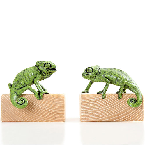 pair of juvenile chameleons - limited edition bronze