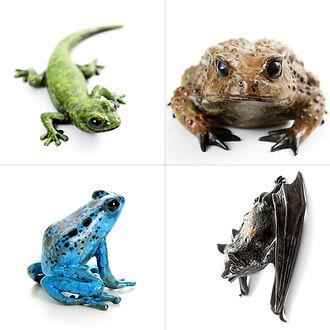 geckoman bronze frog gecko toad bat sculpture