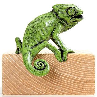 Bronze chameleon sculpture by Geckoman, John Noble-Milner, wildlife sculptor and artist
