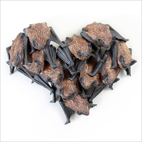 greeting card - bat colony heart (code P22)