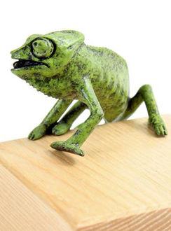 bronze chameleon sculpture