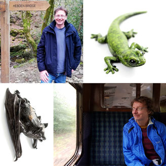 Geckoman, John Noble-Milner, wildlife sculptor and artist with bronze gecko and pipistrelle bat sculpture