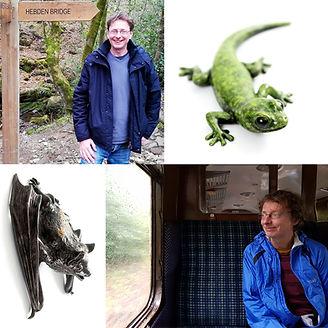Geckoman, John Noble-Milner, wildlife sculptor and artist with bronze gecko and pipistrelle bat sculpture