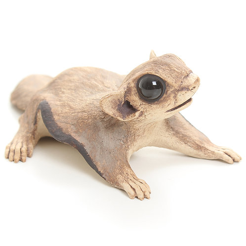 flying squirrel looking left - stoneware pottery