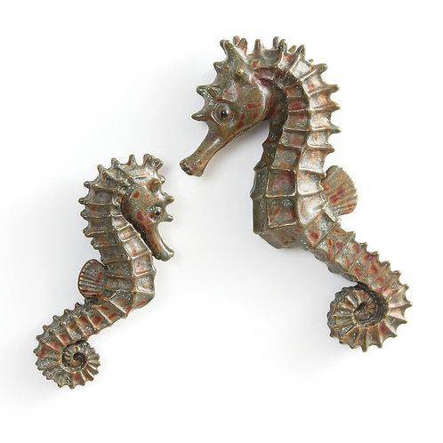 pair of seahorses - bronze