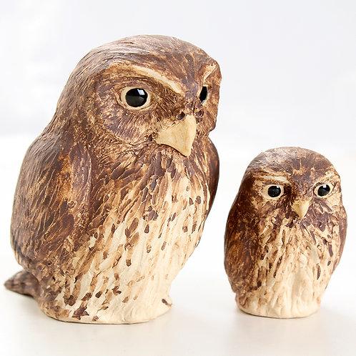 2 pygmy owls - stoneware pottery