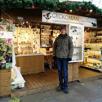 Geckoman, John Noble-Milner, wildlife sculptor at York Christmas Market