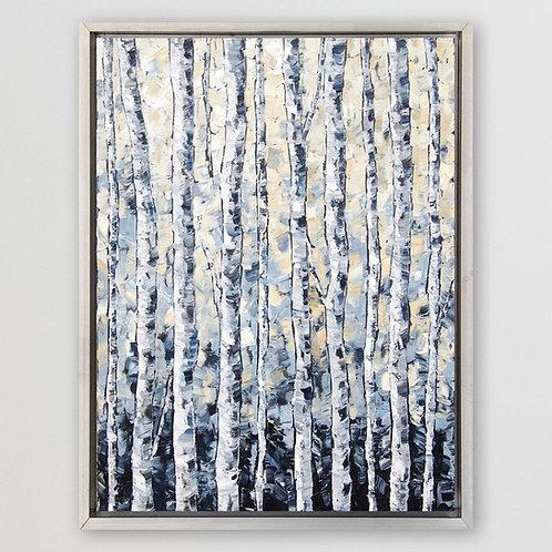 """Grey Birch, 48""""x36"""""""