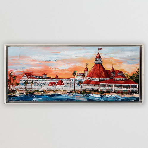 "Sunrise at Hotel Del (Study),  15""x36"""