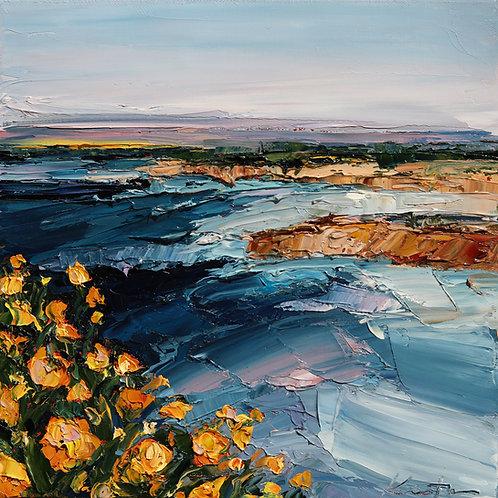"Yellow Flowers Along the Coast, 12""x12"""