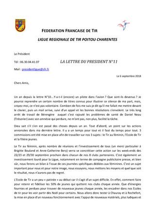 Lettre du Président de la Ligue Régionale de Tir Poitou Charentes