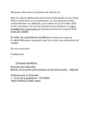 Courrier de la Préfecture de la Charente