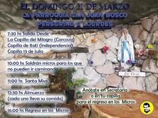 """DOMINGO 31 DE MARZO  """" LA PARROQUIA SAN JUAN BOSCO PEREGRINA A LOURDES"""""""