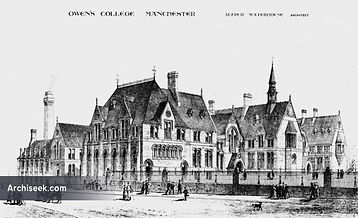 Black and White sketch of Owens College in Manchester