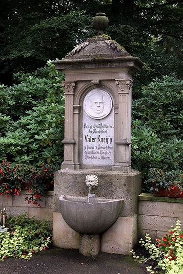 Fountain at the spa gardens of Bad Wörishofen, dedicated to Father Sebastian Kneipp on his 76th birthday.