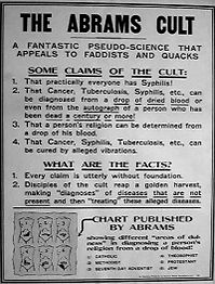 "Numerous media reports paid for by opposition forces condemned radionics as quackery and even referred to it as ""The Abrams Cult""."