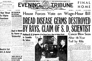 On May 6, 1938, Dr. Rife, PhilipHoyland and their ray-tube machine were a front-page story in the San Diego Evening Tribune.