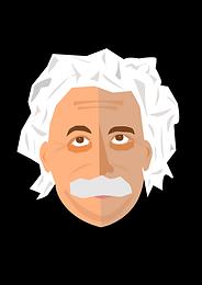 Cartoon drawing of white haired Albert Einstein