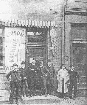 Workers Standing Outside Edison Machine Works, New York